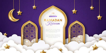 Ramadan Kareem concept banner, gold 3d frame arab window on night sky background, beautiful arabesque pattern. Vector illustration. Hanging golden crescent and stars, paper cut clouds. Place for text 矢量图像