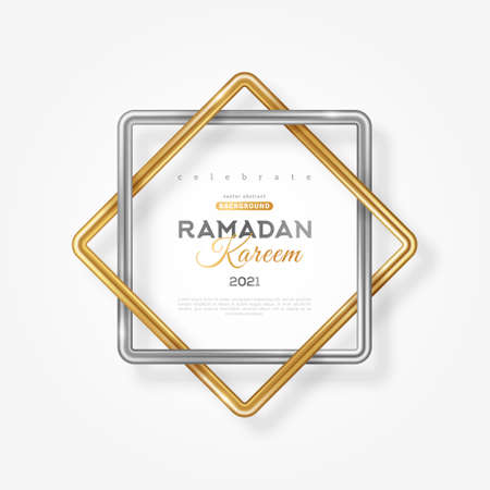Ramadan Kareem concept poster, typography template. Eight point star shape frame, 3d gold and silver Rub el hizb islamic symbol isolated on light background. Vector illustration. 矢量图像