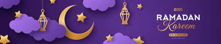 Ramadan Kareem Horizontal Sale Header or Voucher Template with Gold Moon, 3d Paper cut Clouds and Stars on Night Sky Violet Background. Vector illustration. Traditional Lanterns and Place for Text. 矢量图像