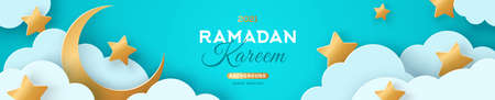 Ramadan Kareem Horizontal Sale Header or Voucher Template with Gold Moon, 3d Paper cut Clouds and Stars on Blue Sky Background. Vector illustration. Traditional Lanterns and Place for Text.
