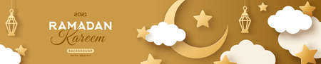 Ramadan Kareem Horizontal Sale Header or Voucher Template with Gold Moon, 3d Paper cut Clouds and Stars on Golden Sky Background. Vector illustration. Traditional Lanterns and Place for Text.