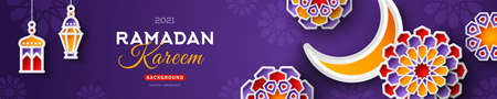 Ramadan Kareem Horizontal Sale Header or Voucher Template with Moon and 3d Paper cut Islamic Stars on Night Sky Violet Background. Vector illustration. Traditional Lanterns and Place for Text.