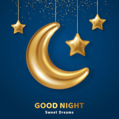 3d gold crescent half moon with hanging stars and confetti on dark blue sky background. Vector illustration. Ramadan Kareem concept banner and good night sweet dreams baby wallpaper. Place for text