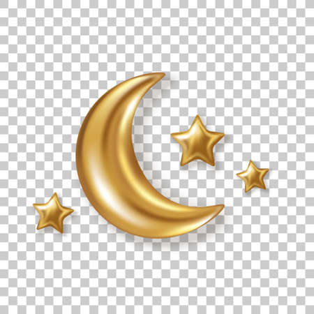 3d gold crescent half moon with glitter stars isolated on transparent background. Vector illustration. Ramadan Kareem concept icon and good night sweet dreams baby sign.
