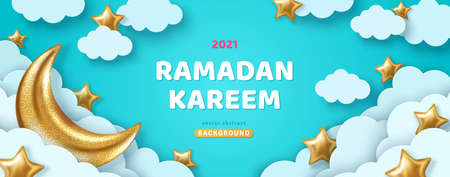 Ramadan Kareem Concept Banner or Voucher Template with 3d Gold Moon, Paper cut White Clouds and Stars on Blue Sky Background. Vector illustration for greeting card, poster and flyer. Place for Text