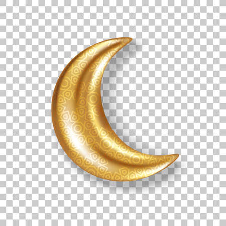 3d gold pattern crescent, glitter half moon isolated on transparent background. Vector illustration. Ramadan Kareem concept icon and good night sweet dreams sign. 矢量图像