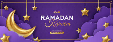 Ramadan Kareem Concept Banner or Voucher Template with 3d Gold Moon, Paper cut Clouds and Stars on Night Sky Violet Background. Vector illustration for greeting card, poster and flyer. Place for Text 矢量图像