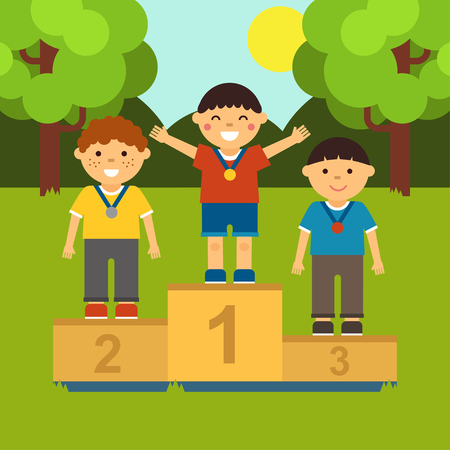 Three little boys on the pedestal for awarding medals in cartoon style. Ilustração