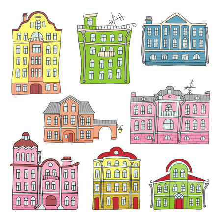 Buildings in the old town colorful set.
