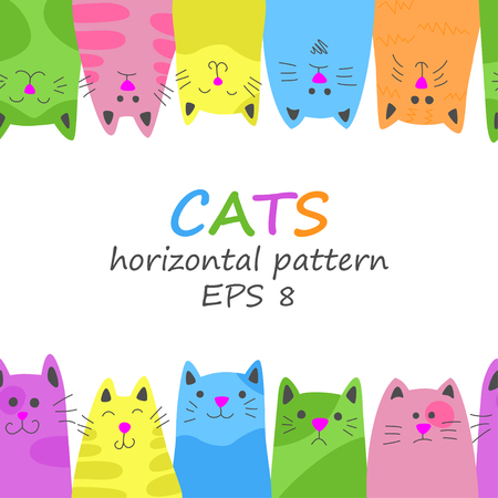 Seamless horizontal pattern of cats in doodle and cartoon style.