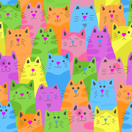 Cats. Seamless pattern in doodle and cartoon style. Color. Vector.
