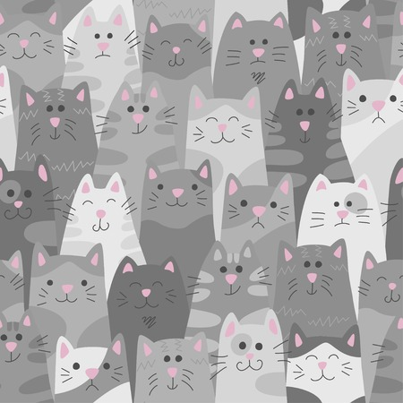 Cats. Seamless pattern in doodle and cartoon style. Gray. Vector.