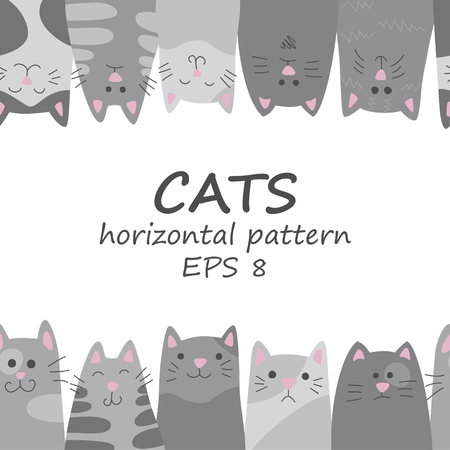 Cats. Seamless horizontal pattern in doodle and cartoon style