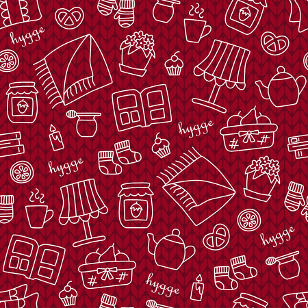 Hygge  Seamless pattern in doodle and cartoon style. Knitting  Vector illustration  EPS8 Illustration