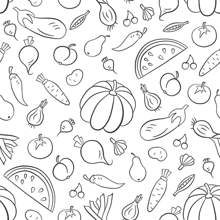 Vegetables and fruits. Seamless pattern in doodle and cartoon style. Outline vector illustration. Vettoriali