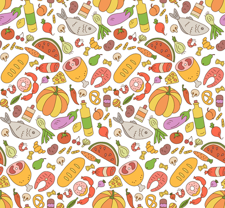 Colorful food seamless pattern in Doodle and cartoon style