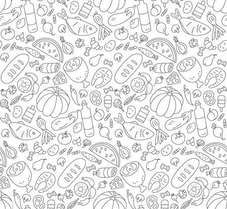 Food. black and white seamless pattern in doodle and cartoon style.