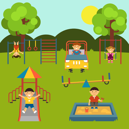 Playground with children. Set. Baby-themed flat stock illustration with isolated elements. Vector. EPS 8