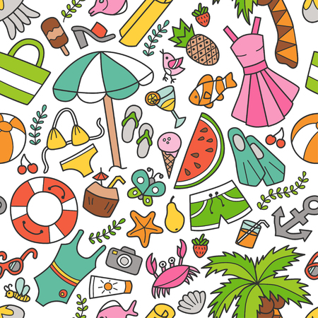 Sea and summer seamless pattern in doodle and cartoon style illustration.