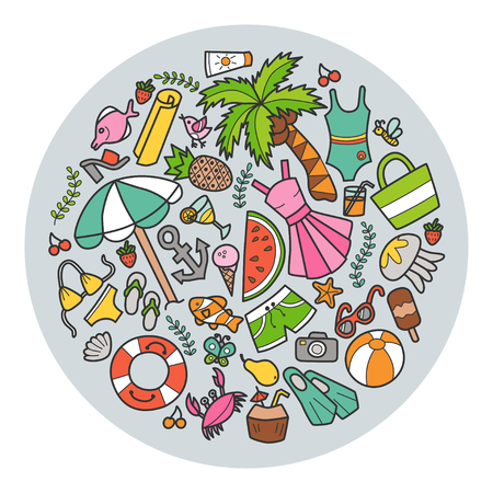 Sea and summer circular banner in doodle and cartoon style illustration.