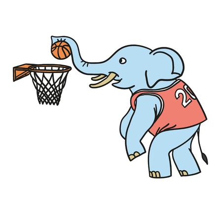 코끼리는 농구를한다. 낙서와 만화 스타일의 일러스트입니다. 벡터. EPS 8