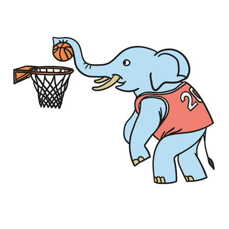 An elephant plays basketball. Illustration in doodle and cartoon style. Vector. EPS 8