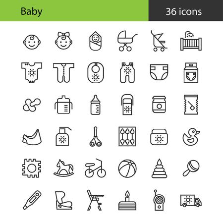 Baby. Flat icons set. 36 icons.