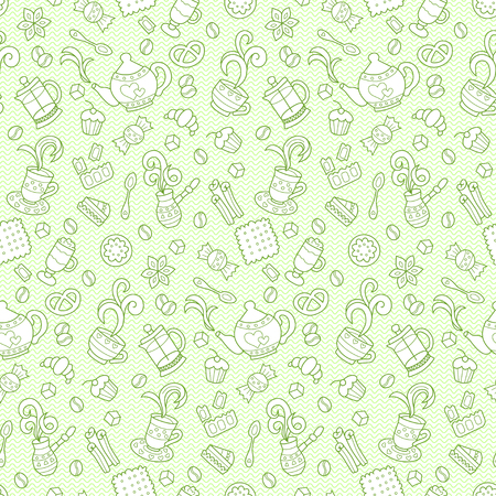 Tea and coffee. Seamless pattern in doodle and cartoon style. Hand drawn. Green. Vector. EPS 8.