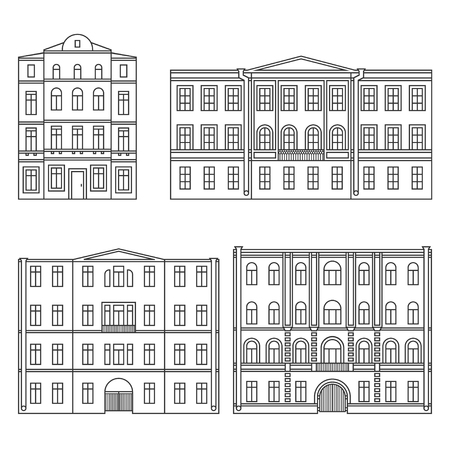 Set of buildings in the old town. Beautiful houses in the style of classicism. Outline. Vector. EPS 8 Illustration