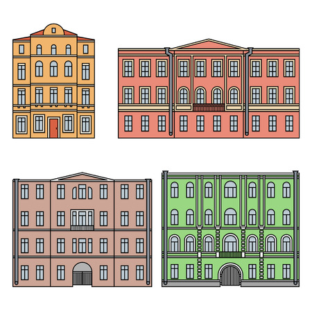 Set of buildings in the old town. Beautiful houses in the style of classicism. Color. Vector. EPS 10
