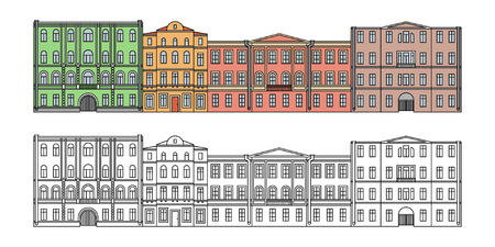 Set of buildings in the old town. Beautiful houses in the style of classicism.