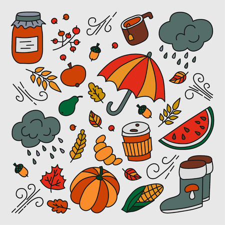 Autumn and rain. Set of elements in doodle and cartoon style. Color. Vector. EPS 8 Illustration