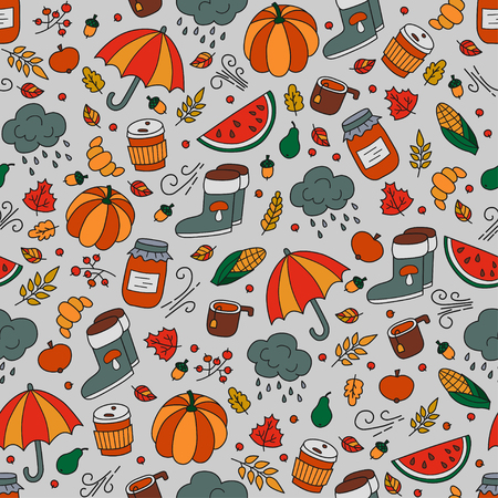 Autumn and rain. Seamless pattern in doodle and cartoon style. Color. Vector. EPS 8