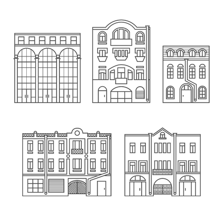 Buildings in the old town. Old Europe city. Set of elements. Outline. Vector. EPS 8 Illustration