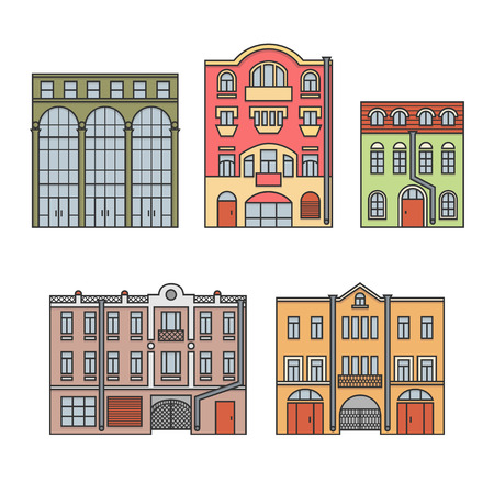 Buildings in the old town. Old Europe city. Set of elements. Color. Vector. EPS 8
