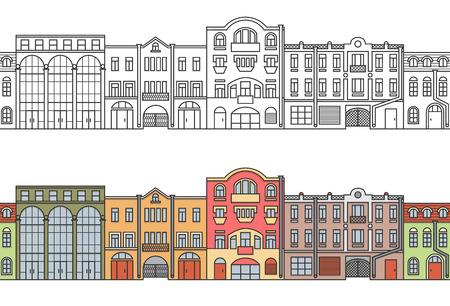 Old Europe city. Street. Seamless horizontal pattern. Vector. EPS 8