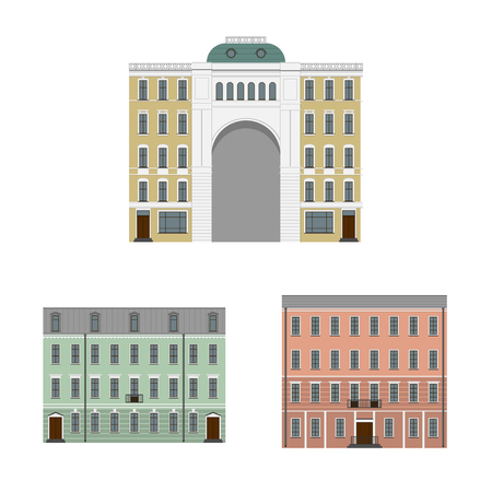 Old houses of the European city. Set of elements vector illustration.