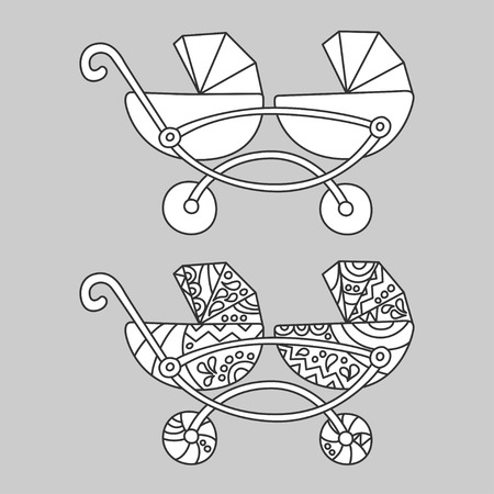 Baby carriage for twins, illustration in doodle and cartoon style outline vector. Illustration
