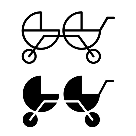 Baby carrige for twins. Two icons flat vector.