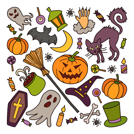 Halloween. Set of elements in doodle and cartoon style. Colorful. Vector.