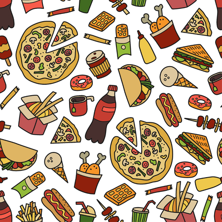 Fast food. Seamless pattern in doodle and cartoon style. Colorful Ilustração