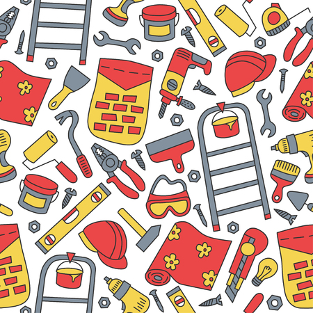 Repairs. Building tools. Seamless pattern in doodle and cartoon style. Color.
