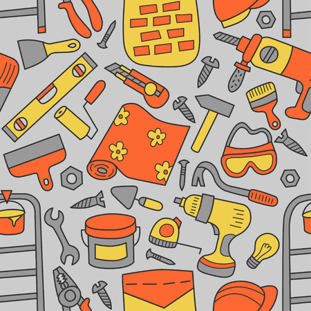 Repairs. Building tools. Seamless pattern in doodle and cartoon style.