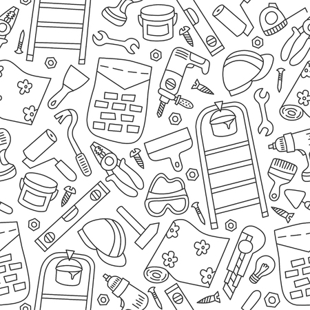 Repairs  Building tools Seamless pattern in doodle and cartoon style.