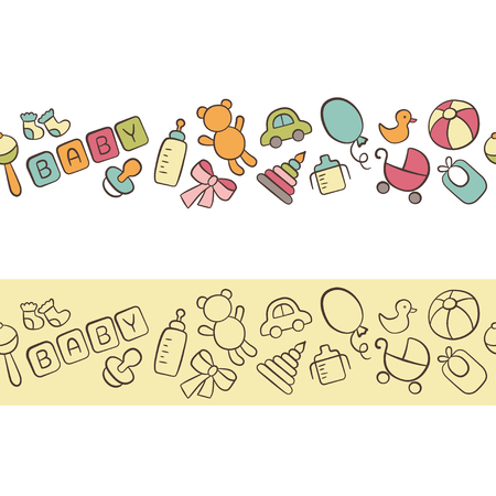 Baby. Newborn. Cute horizontal seamless pattern in doodle and cartoon style. Vettoriali