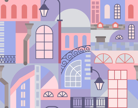 Europe old town. Colorful art mosaic. Seamless pattern. Vector illustration.