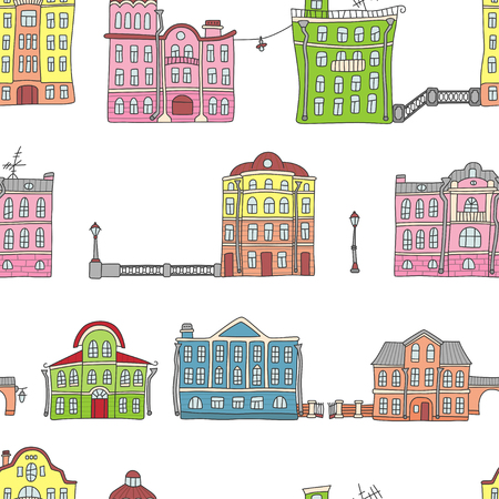 Buildings in the old European town. Colorful. Seamless pattern in doodle and cartoon style. Vector. EPS 10