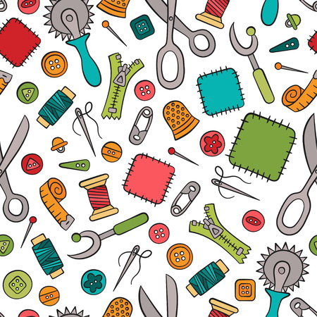 Sewing and needlework. Tools and accessories. Seamless pattern in doodle and cartoon style. Colorful. Linear. Vector.