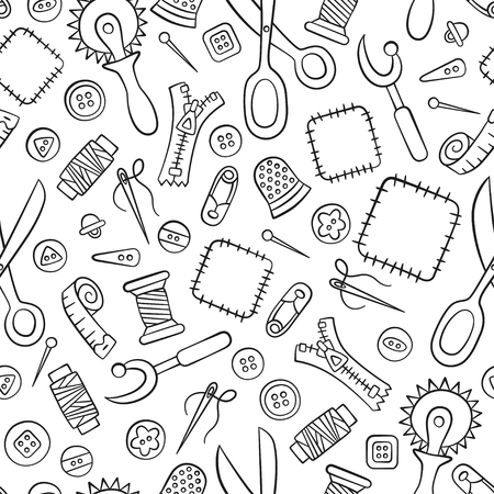 Sewing and needlework. Tools and accessories. Seamless pattern in doodle and cartoon style. Linear. Vector.
