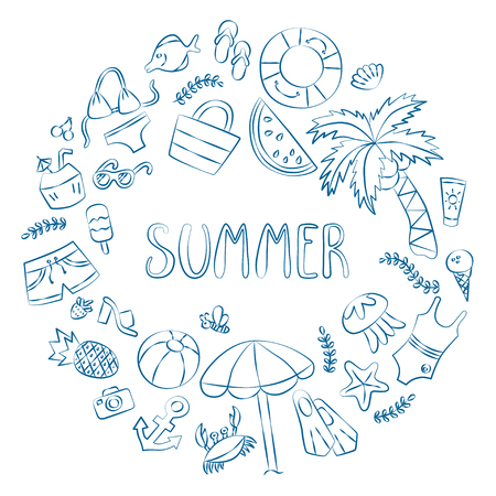 Summer. Lettering and various summer elements drawing hands. Card in the doodle and cartoon style. Vector. EPS 8